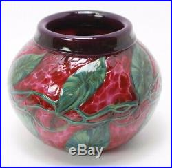 David Lotton Art Glass Clematis Vines Flower Rolled Over Paperweight Vase Signed