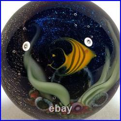 David Salazar California Studio Art Glass Angelfish Fish Marble Mini Paperweight