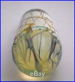Dazzling RICK SATAVA Blue MOON JELLYFISH Art Glass PAPERWEIGHT Sculpture 6.5