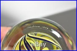 Dominic Labino Signed 1974 Art Glass Paperweight Blown Web Design