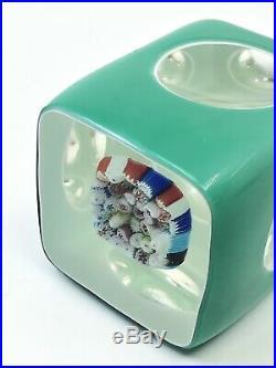 Double Overlay Glass Millefiori Paperweight Beautiful