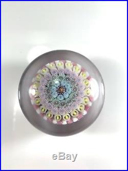 Drew Ebelhare Millefiori glass paperweight Signed, Dated & Marked E in the Center