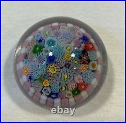 Drew Ebelhare Miniature Millefiori 1 1/2 Pink and White Paperweight