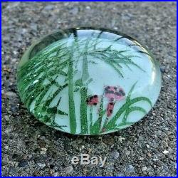 EARLY Chinese White Ground Art Glass Hand Painted Bamboo Thicket Paperweight