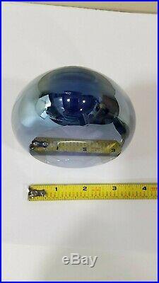 ED KACHURIK 2001 Signed Blue & Clear Art Glass Sculpture Paperweight