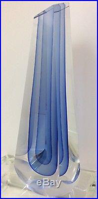 ED KACHURIK 2015 Signed Large Blue & Clear Art Glass Sculpture 13.25 X 3.75