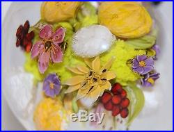 EXQUISITE Magnum PAUL STANKARD Art Glass FLOWERS / FRUIT / BEE Paperweight ORB