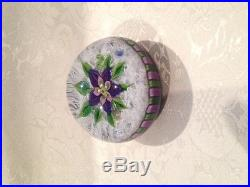 EXQUISITE and Scarce PARABELLE Stave BASKET Muslin FLOWER Art Glass PAPERWEIGHT