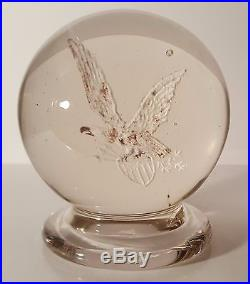 EXTRAORDINAR Antique MILLVILLE FOOTED UPRIGHT FLYING EAGLE Art Glass Paperweight