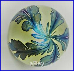 Early Daniel Lotton Iridescent Art Glass Paperweight Signed /dated 1984