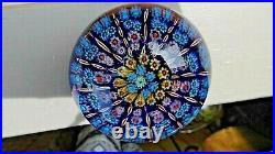 Early Perthshire Scotalnd Art Glass Spoke & Millefiori PP1 Paperweight Cobalt Bl