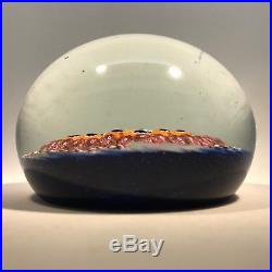 Early Ysart Brothers Art Glass Paperweight Concentric Complex Millefiori on Blue