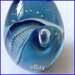 Eickholt Blue Swirl Art Glass Paperweight Modern Art