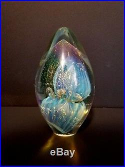 Eickholt PAPERWEIGHT Art Glass iridescent Egg Dichroic Vintage Signed 1995