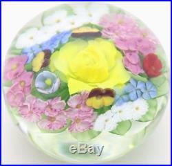 Enchanting LUNDBERG STUDIOS Colorful Salazar FLOWERBED Art Glass PAPERWEIGHT