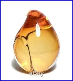 Estate PINO SIGNORETTO Murano Art Glass Orange Penguin Figure Paperweight