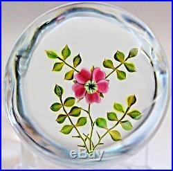 Exquisite PAUL J STANKARD Wild ROSE Studio Art Glass PAPERWEIGHT