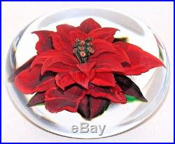 FABULOUS Magnum RICK AYOTTE Red POINSETTIA Art Glass PAPERWEIGHT Artist Proof