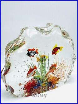 FANTASTIC MURANO ART GLASS AQUARIUM SIGNED BY ARTIST 7 3/4in. 6 FISH EUC