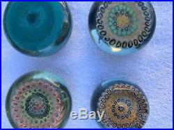 FOUR scottish millefiori paperweights SIGNED salvador YSART Y and Vasart
