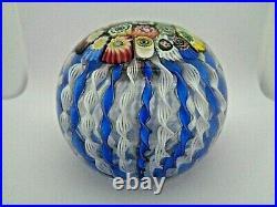FRATELLI TOSO Murano Glass Zanfirico Ribbon Millefiori CROWN Paperweight Blue