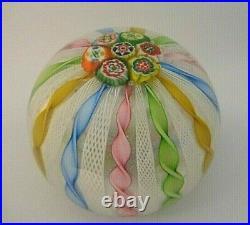 FRATELLI TOSO Murano Glass Zanfirico Ribbon Millefiori CROWN Paperweight Pastel