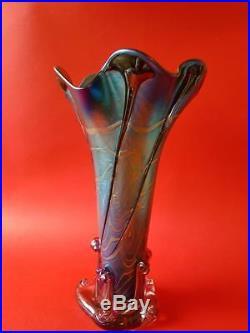 Fabulous Iridised Colin Heaney Tall Art Glass Vase Australian Art Glass
