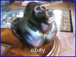 Fabulous ORIENT and FLUME GORILLA PAPERWEIGHT Blue Aurene 3.5, Signed w Tag