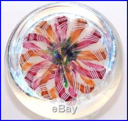 Fascinating PAUL YSART Gorgeous FLOWERS BOUQUET on TWIST Art Glass PAPERWEIGHT