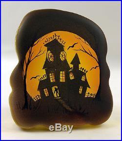 Fenton Art Glass OOAK Crystal Paperweight Halloween Haunted House & Bats Design