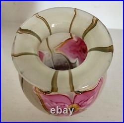 Fine Eickholt Art Glass 7 Vase Paperweight Pink Lilies Signed Eickholt 2005
