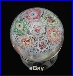 Fine Vintage Baccarat Patterned Millefiori Paperweight with Lace Ground Signed