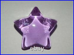 Fire & Light Lavender Shooting Star Recycled Glass Signed Purple Paperweight
