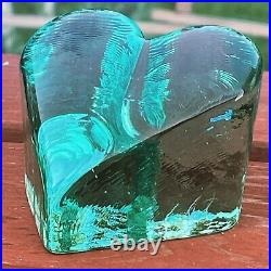 Fire and Light Glass Recycled Heart Signed Aqua / Teal Paperweight