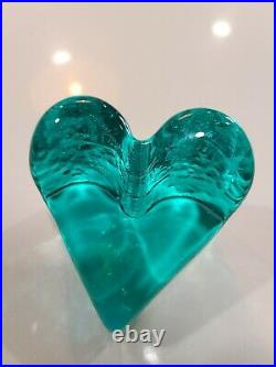Fire and Light Glass Recycled Heart Signed Aqua Teal Paperweight Excellent