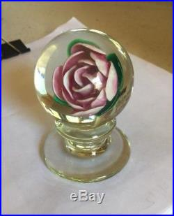 Francis Dyer Whittemore, Jr. Upright Rose Pedestal Paperweight, Circa 1980