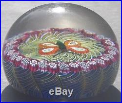 Glass Paperweight Orange Butterfly On Green Lace 2 ¾