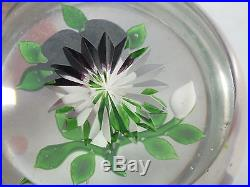 GOOD FRENCH BACCARAT GLASS PAPERWEIGHT WITH INNER PANSY & STAR CUT BASE 19thC