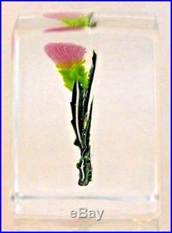 GORGEOUS Paul STANKARD Art Glass THISTLE STUDY Paperweight BLOCK Sculpture