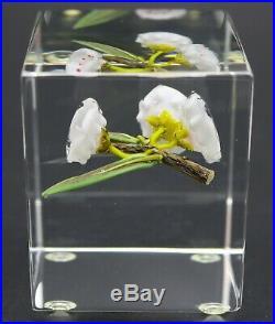 GORGEOUS Paul STANKARD Block MOUNTAIN LAURELS on BRANCH Art Glass PAPERWEIGHT
