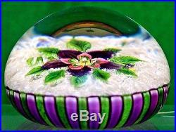 GORGEOUS Scarce PARABELLE Stave BASKET Muslin under FLOWER Art Glass PAPERWEIGHT