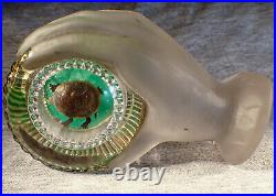Gillinder Glass EAPG Molded Glass Hand Holding Articulated Turtle Paperweight