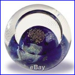 Glass Eye Studio Celestial Blue Planet Art Glass with box- made in USA