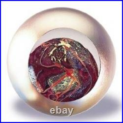 Glass Eye Studio Celestial Mars Art Glass Paperweight with box- made in USA