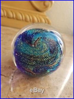 Glass Eye Studio Celestial Paperweight Northern Lights Blue Dichroic Art Glass