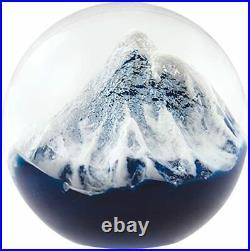 Glass Eye Studio Glacier Hand Blown Paperweight, Ice Cap Crystal Sphere Orb, 3