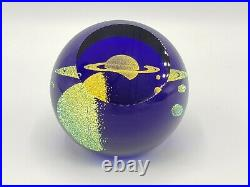 Glass Eye Studio Paperweight SATURN Celestial Series Blue Signed GES 06