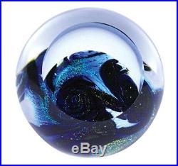 Glass Eye Studio-celestial Blue Planet 3-blown Glass Paperweight- Stunning