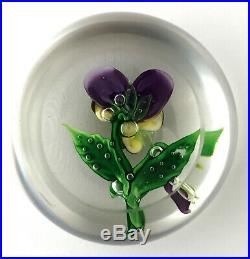 Gorgeous Clichy Pansy With Bud Antique Glass Paperweight