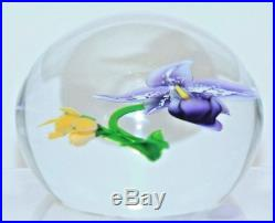 Gorgeous RANDALL GRUBB Bloomed ORCHID and Yellow FLOWERS Art Glass PAPERWEIGHT